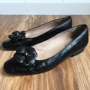 Vintage Chanel Quilted Leather Flower Flats